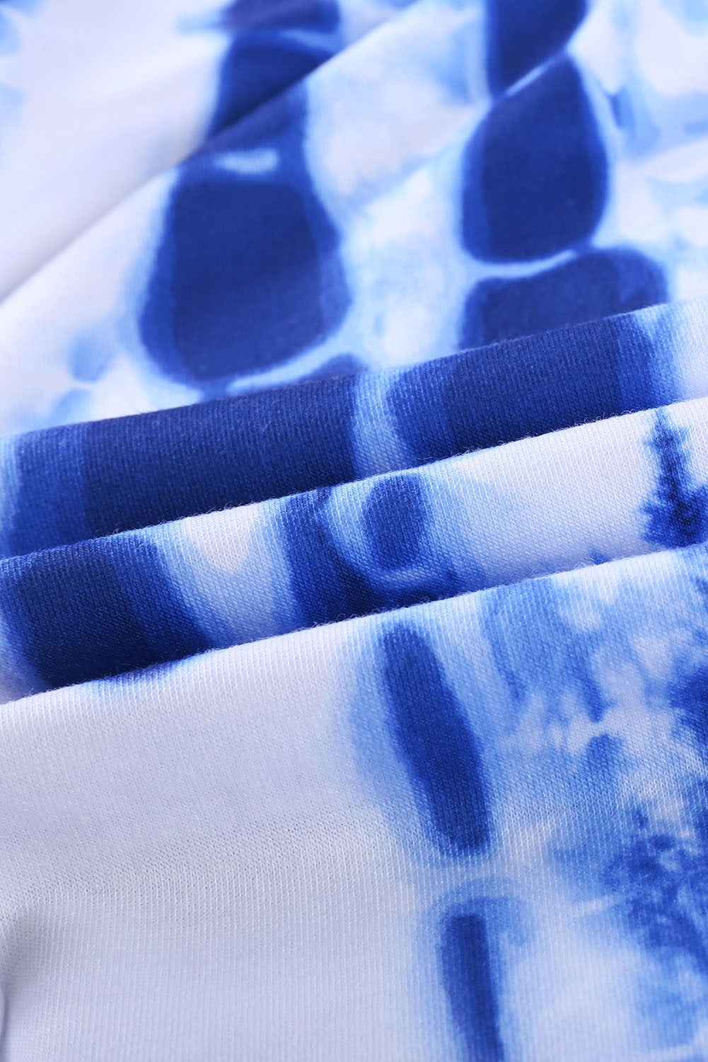 White Pocketed Blue Tie-Dye Joggers