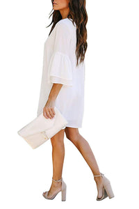 White Bell-Sleeve Button Down Casual Shirt Dress