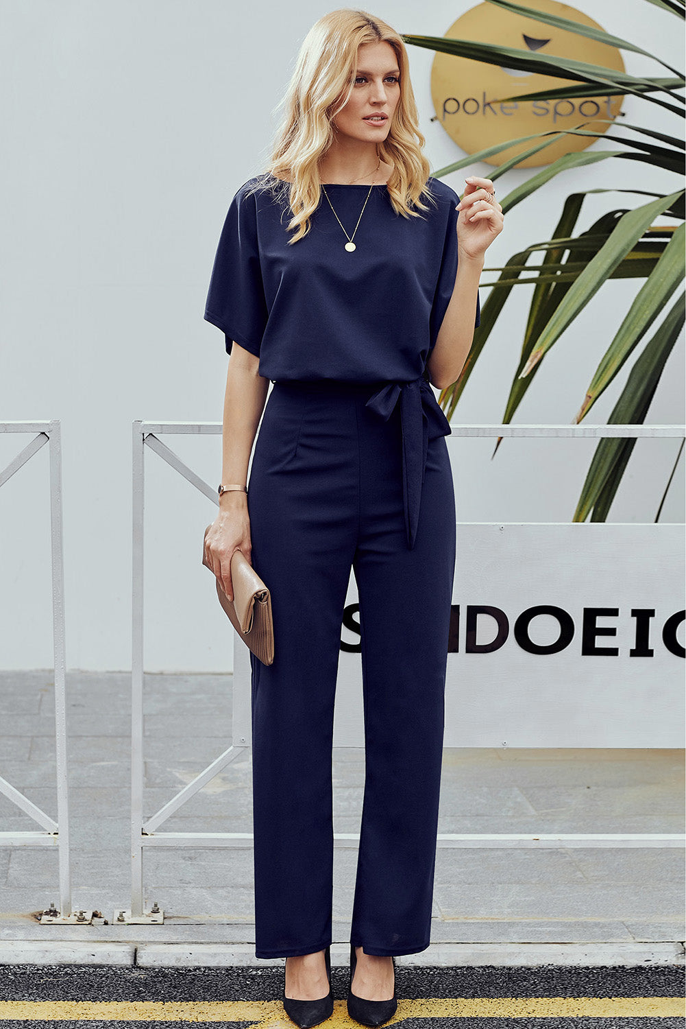 Wide Leg Belted Navy Blue Party Jumpsuit