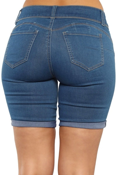 Ladies Blue Denim Bermuda Shorts