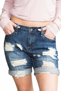 Dark Blue Ripped Boyfriend Denim Shorts