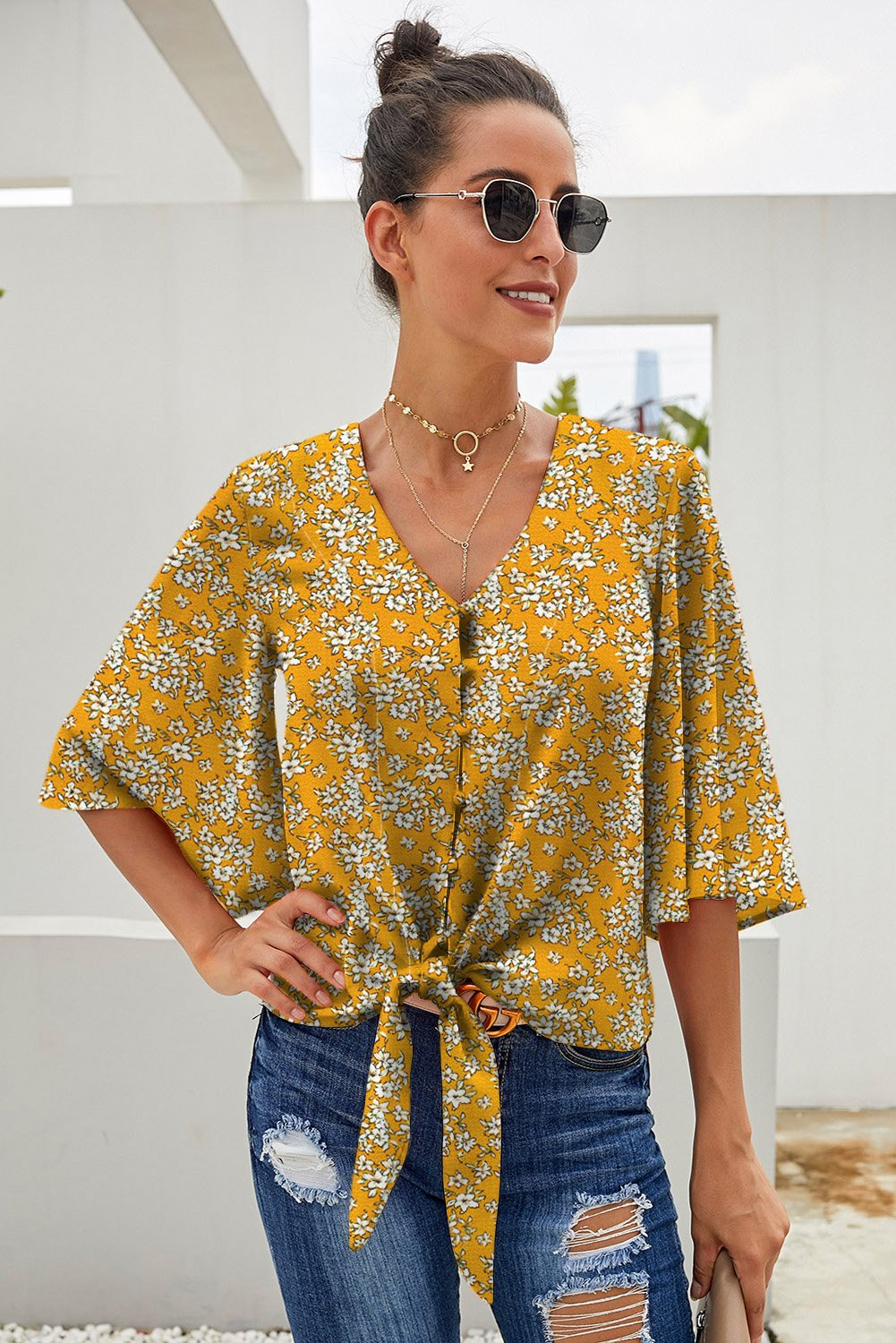 Yellow Floral Print Button Up Tie Front Blouse