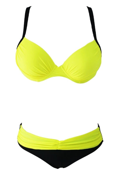 Yellow Black Two-Piece Bikini Swimsuit
