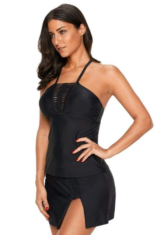 Black Fitted Tankini and Skort Swimsuit Set