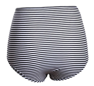 Black White Striped Print High Waisted Swimsuit Bottoms