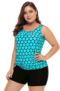 Cyan Polka Dot Tankini Top Short Swimsuit