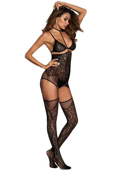 Black Lace Garter Slip Bodystockings Lingerie