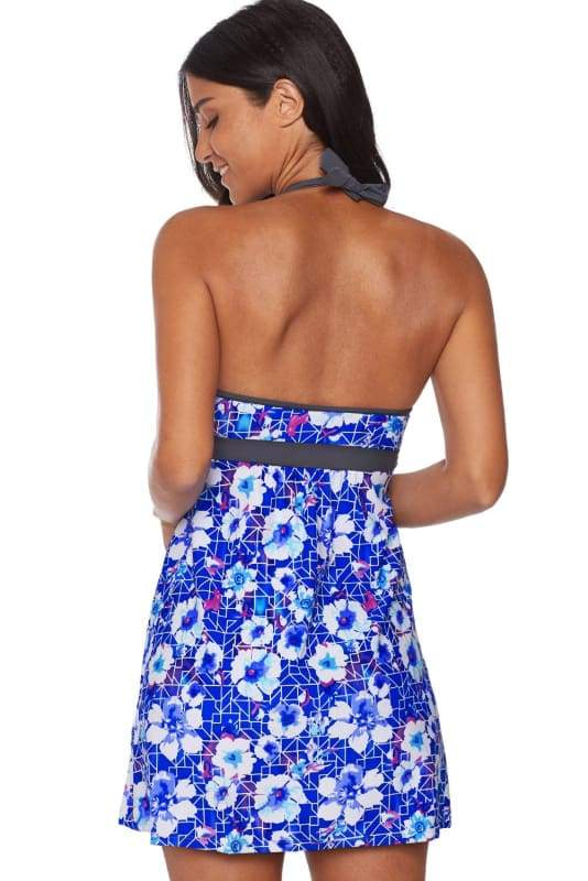 Blue Floral Printed Halter Swim Dress