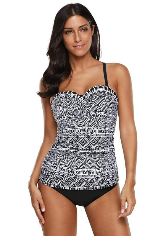 Monochrome Print Strappy Back Tankini Bathing Suit