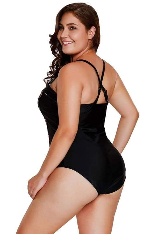 Plus Size One Piece Black Swimsuit With Rose Print