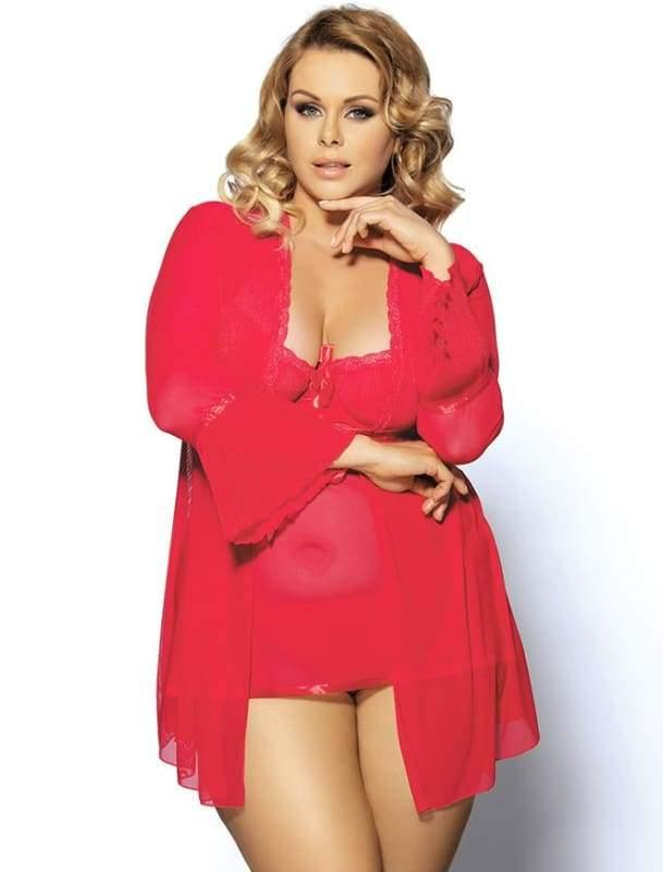 Red Plus Size Mesh Bell Sleeve Robe And Babydoll Set