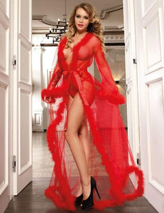 Sexy Red Sheer Marabou Trim Robe