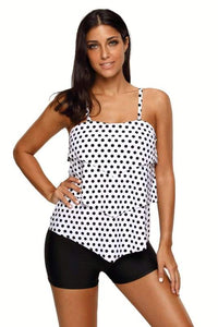 White Black Polka Dot Print Layered Tankini Top