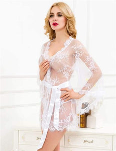 White Floral Lace Short Robe