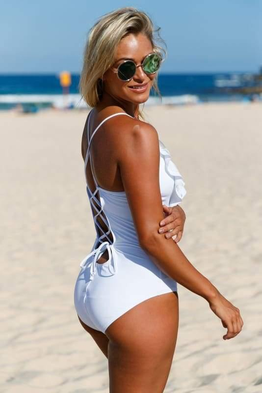 White Ruffled Plunge One Piece Swimsuit