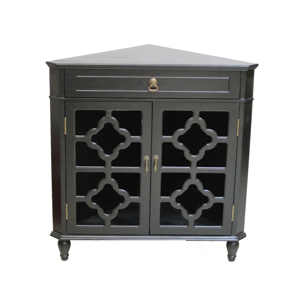 Blessthisfarmhouse 32 Black Wood Clear Glass Corner Cabinet With