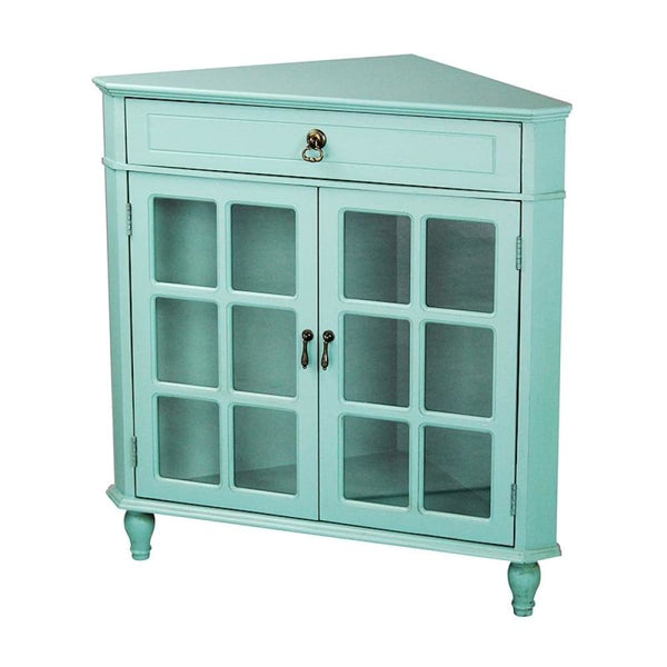 Blessthisfarmhouse Turquoise Wood Clear Glass Corner Cabinet