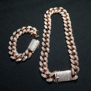 CUBAN CHAIN & BRACELET BUNDLE - ROSE GOLD 18K