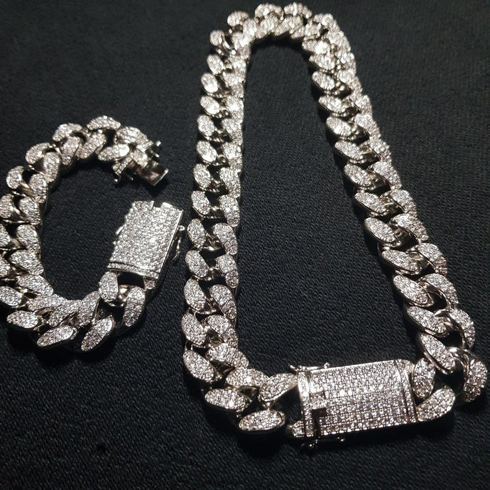 CUBAN CHAIN & BRACELET BUNDLE - WHITE GOLD 18K