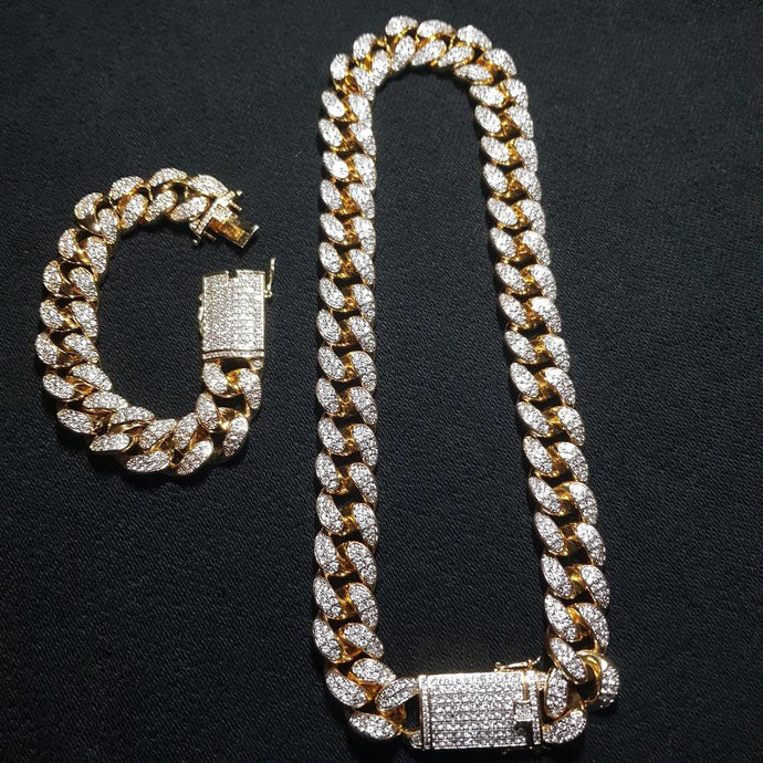CUBAN CHAIN & BRACELET BUNDLE - GOLD 18K