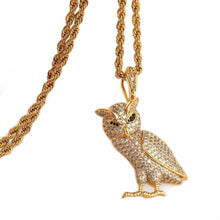 Load image into Gallery viewer, OWL PENDANT WITH CHAIN GOLD 18K DIAMOND