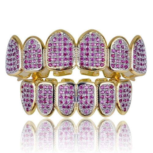 ICED OUT GOLD 18K PURPLE DIAMOND GRILLZ