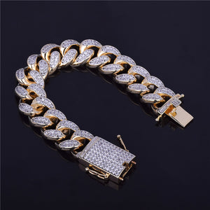 CUBAN BRACELET WHITE GOLD 18K DIAMOND