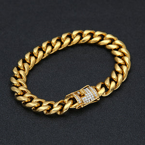 CUBAN BRACELET ICED OUT GOLD DIAMOND 18K