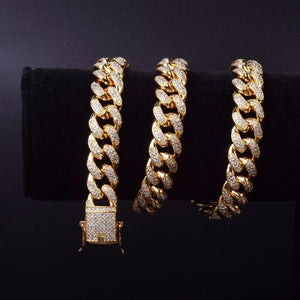 MIAMI ICED OUT CUBAN CHAIN - GOLD 18K (15MM)