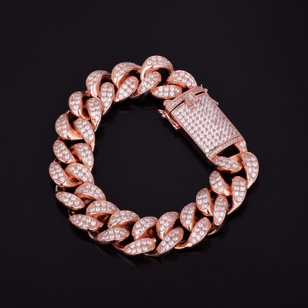 CUBAN BRACELET ROSE GOLD 18K DIAMOND