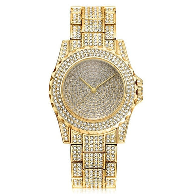 WATCH LUXURY GOLD 18K DIAMOND QUARTZ