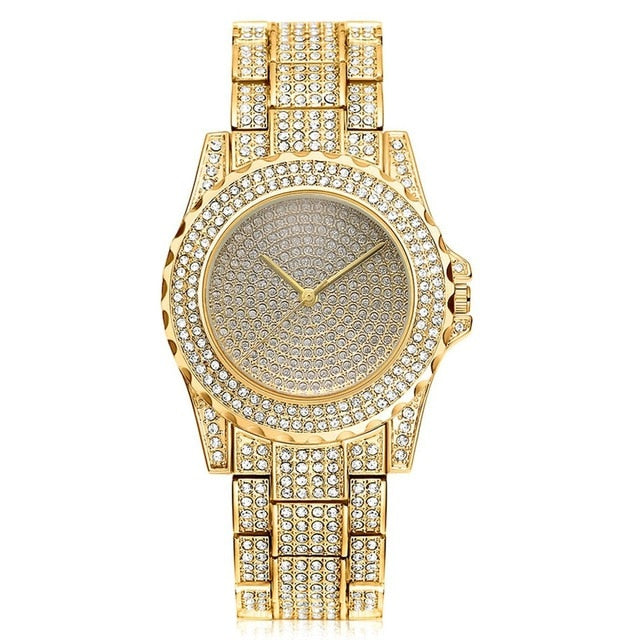 LUXURY WATCH GOLD 18K DIAMOND QUARTZ