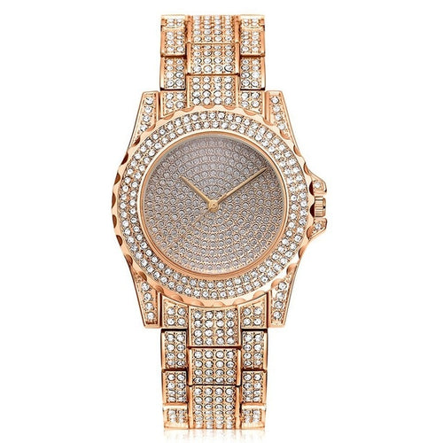 WATCH LUXURY ROSE GOLD 18K DIAMOND QUARTZ