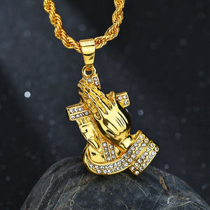 JESUS HANDS CROSS PENDANT NECKLACE DIAMOND GOLD 14K