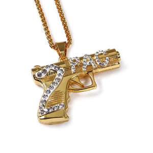 PENDANT NECKLACE 2PAC GOLD 18K DIAMOND