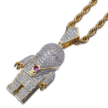 Load image into Gallery viewer, PENDANT NECKLACE HIP HOP ASTRONAUT ICED OUT GOLD 18K DIAMOND
