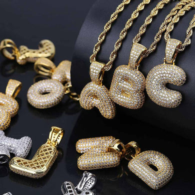 CUSTOM BUBBLE LETTER PENDANT WITH ROPE CHAIN GOLD 18K