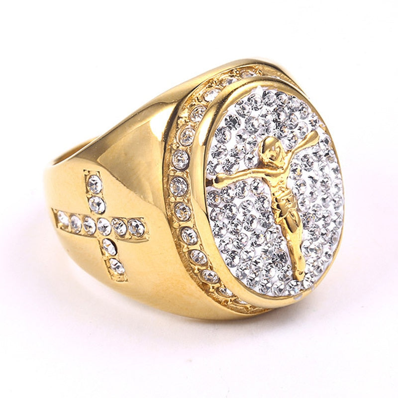 RING ICED OUT JESUS GOLD 18K DIAMOND