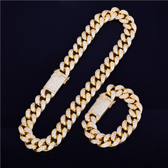 CUBAN CHAIN & CUBAN BRACELET BUNDLE - GOLD 24K (20MM)