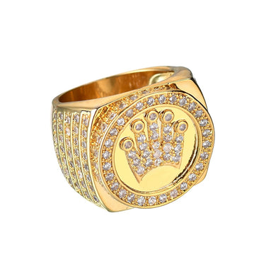 RING HIP HOP KING CROWN GOLD 18K DIAMOND