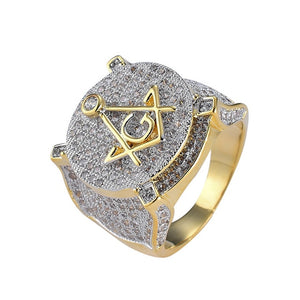 RING MASONIC GOLD 18K DIAMOND