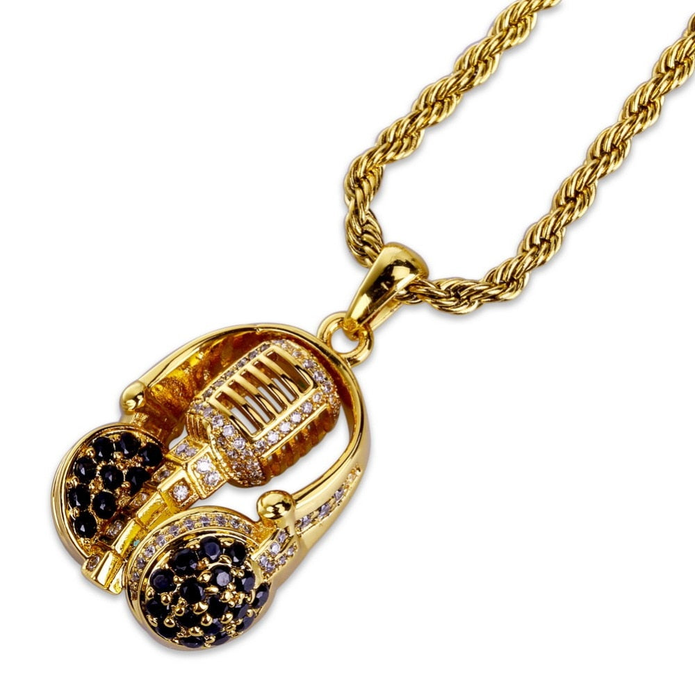 HEADSET MICROPHONE PENDANT WITH CHAIN GOLD 18K DIAMOND