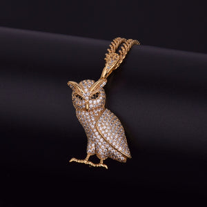 OWL PENDANT WITH CHAIN GOLD 18K DIAMOND
