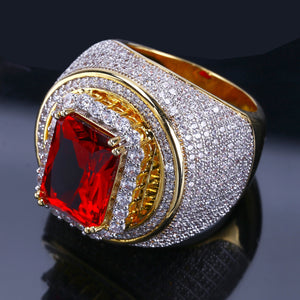 RING GOLD 18K RED STONE DIAMOND