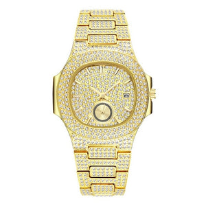 LUXURY WATCH GOLD 18K FULL DIAMOND QUARTZ