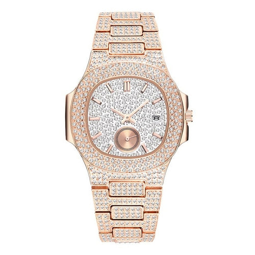 LUXURY WATCH ROSE GOLD 18K FULL DIAMOND QUARTZ
