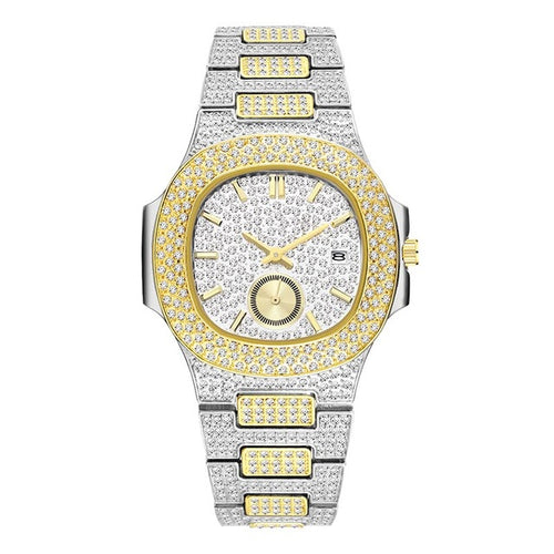 LUXURY WATCH SILVER AND GOLD 18K FULL DIAMOND QUARTZ