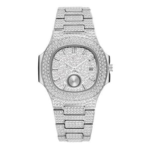 LUXURY WATCH WHITE GOLD 18K FULL DIAMOND QUARTZ