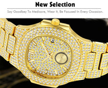 Load image into Gallery viewer, LUXURY WATCH GOLD 18K FULL DIAMOND QUARTZ