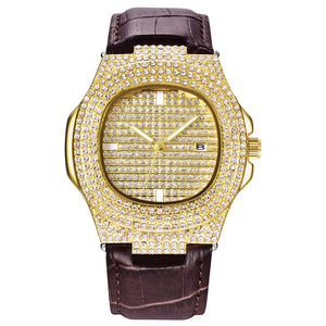 LEATHER WATCH GOLD 18K DIAMOND QUARTZ